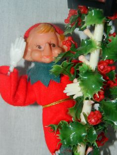 Vintage Elf Pixie Gnome on a Lamp Pole Holly by TheIDconnection