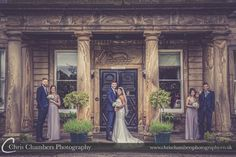 Waterton Park Wedding Photography | Waterton Park Wedding Photographer | http://www.chrischambersphotography.co.uk The bride, groom and their bridal party outside Waterton Park Hotel.