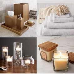 Crate and Barrel bamboo bath accessories