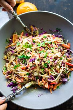Thai Noodle Salad with Peanut Sauce- loaded up with healthy veggies and the BEST peanut sauce eeeeeeeeeever! Vegan & Gluten-Free | www.feastingathome.com