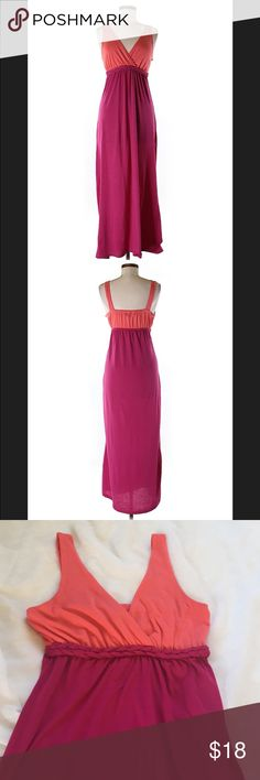 """BCX color block maxi dress, size med Salmon and magenta maxi dress by BCX. Empire waist with braided detail. Size medium, with 32"""" bust and 54"""" length. 🦊 Please use measurements provided and ask all questions prior to purchase. I want happy customers! 😊 I do not model the clothes. Thanks! BCX Dresses Maxi"""
