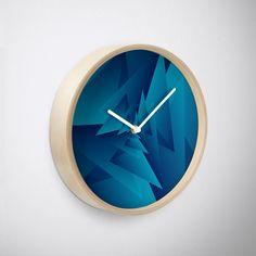 'Crazy Triangle Art' Clock by Rizwana Khan Triangle Art, Purple Marble, Quartz Clock Mechanism, Art Prints, Wall Art, Metal, Wood, Frame, Artwork