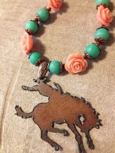 Wyoming Turquoise and Coral Western Necklace. I love this! I could make that with a plasma cutter