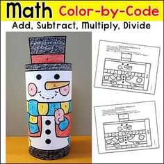 Free Downloads - Snowman Math Color by Code 3D Character: Practice number matching, adding, subtracting, multiplying or dividing with this fun snowman color-by-code picture that turns into a 3D paper toy! This activity is perfect for math centers, morning work, early finishers, substitutes or homework.WINTER BUNDLE You may also like my Winter Math Color by Code 3D Characters Bundle.