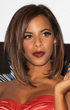 Love the cut and color. Could do as I am growing out my hair. Fall hair!