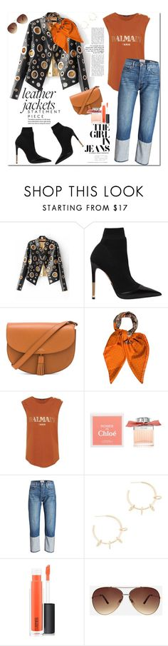 """Statement Piece: Leather Jacket"" by ellie366 ❤ liked on Polyvore featuring Balmain, A.P.C., Hermès, Chloé, Justine Clenquet, MAC Cosmetics, Ashley Stewart, balmain, leatherjackets and aviatorSunglasses"