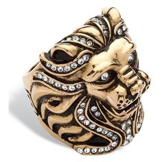 Men's PalmBeach Jewelry Men's Swarovski Elements Lion Ring In Gold... ($44) ❤ liked on Polyvore featuring men's fashion, men's jewelry, men's rings, jewelry & watches, rings, white, mens stainless steel rings, mens white gold rings, mens rings and mens gold rings