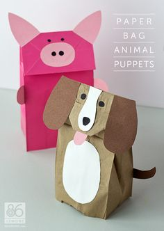 Paper bag animal puppets | 10 Kids Crafts for a rainy day - #DIY