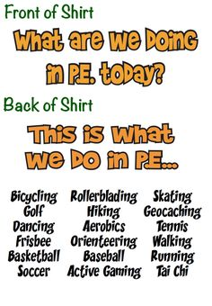 What are we doing in PE T-shirts