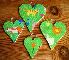 Set of 4 Bright Farm Animal decoupage hearts by DriftwoodandDebris, £17.50