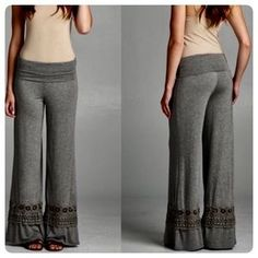 I just discovered this while shopping on Poshmark: Crochet Trim Palazzo Pants…