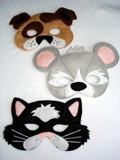 Children's DOG CAT and MOUSE Animal Felt Mask Combo. $37.50, via Etsy.
