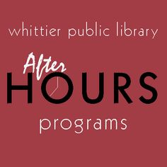 A series of programs with a wide range of subjects specifically for adults offered on selected evenings after the library is closed.