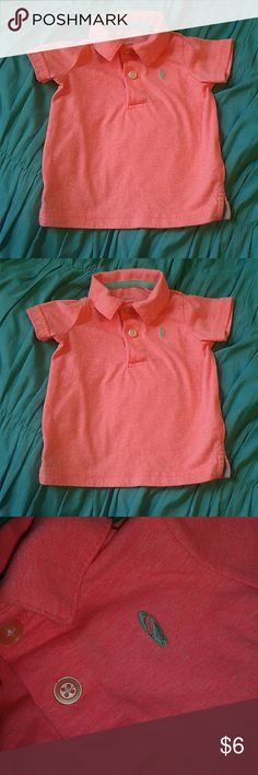 Boys Pink Summer Polo Carter's Size 9 mos Handsome heather bright pink polo, has an embroidered aqua surfboard. This is so cute for the ocean or any summer day!  Excellent Condition!  Smoke free and pet free home! Carter's Shirts & Tops