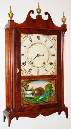 Eli and Samuel Terry, 30 hour, time and strike, wood movement pillar and scroll shelf clock, c1825.