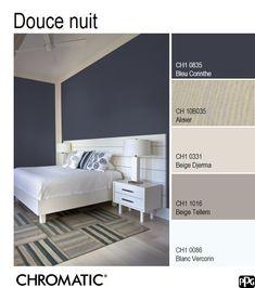 Une association de teintes assez classique de #Bleu Corinthe avec des teintes claires et neutres : bonne nuit garantie! www.chromaticstore.com