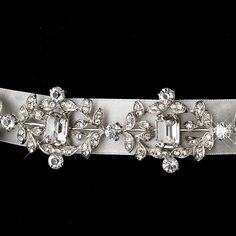 Vintage Satin Ribbon Belt or Headband with Emerald Shaped Crystals & Rhinestones