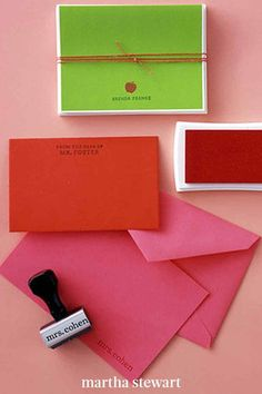 Give the teacher your own stamp of approval with personalized stamps, ink pads, and blank note cards in warm, vivid colors. Print out the wording and have an office supply store create a name stamp. Bring along a photocopy of the apple icon to make a second stamp and give the pair. #marthastewart #diydecor #diyprojects #diyideas #handmadegiftideas