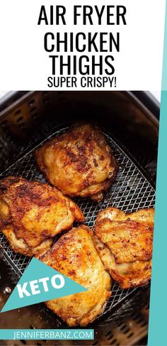 Pull those bone in, skin on chicken thighs out of the refrigerator and make these air fryer crispy chicken thighs tonight! In under 30 minutes you will have a delicious family friendly dinner. Air Fryer Recipes Chicken Thighs, Grilled Chicken Thighs, Fried Chicken Thigh Recipes, Butter Chicken, Crispy Chicken, Tandoori Chicken, Ways To Cook Chicken, Easy Chicken Dinner Recipes, Chicken Meals