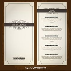 Food menu list restaurant template