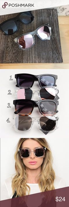Fashion Mirrored Sunglasses Fashion Mirrored Sunglasses. Comes in 4 colors as shown in pic 2. You can choose the color when checking out Accessories Sunglasses