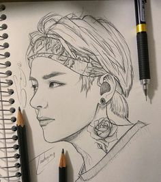 {Taehyung 2 slides🌹} rose tattoo was randomly added by me although it doesn't look nothing like a ta Kpop Drawings, Cool Art Drawings, Pencil Art Drawings, Art Drawings Sketches, Drawing Art, Taehyung Fanart, Bts Taehyung, Arte Sketchbook, E Tattoo