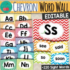 Chevron Word Wall - Editable