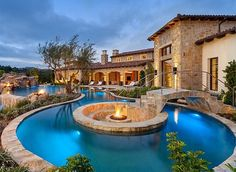 What can possibly be better than a swimming pool in your backyard landscape, a small pool waterfall to create that relaxing vibrant sound while you are enjoying your favorite beverage in a suspended outdoor bed or lounge chair? Swimming Pool Designs, Swimming Pools, Home Design, Design Ideas, Modern Design, Design Inspiration, Estilo California, Luxury Pools, Mediterranean Decor