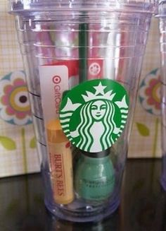 Cute gift idea Chapstick, nail polish, and a Starbucks gift card