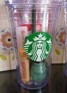 Cute gift idea Chapstick, nail polish, and a Starbucks gift card