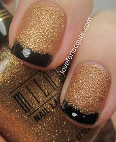 Nails, gold glitter with black french tip nails