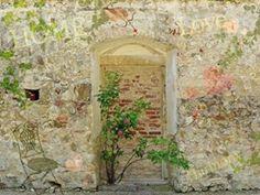 Muri - Muro Di Giardino Romantico, 2 Parti Poster Carta Da Parati Fotomurale (240 x 180cm)