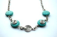 In The Mood Necklace      Turquoise Blue Howlite by SpearCraft, $10.00
