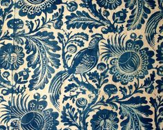 Indigo Resist Peacock. This pattern is probably the most famous of the Hudson River Valley resists, ca. 1765-1775