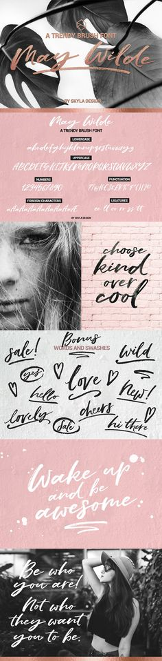 A trendy brush script font by Skyla Design ♥ Use this modern calligraphy font for your branding, logo, web design, stationery, quotes, graphics and more! Support Skyla Design at Creative Market x