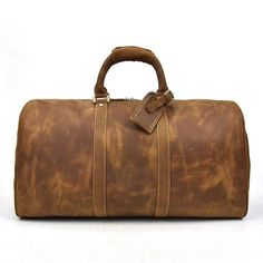 b88b0719cea1 Men s big capacity genuine leather travel bag durable crazy horse leather  travel duffel Real leather large shoulder weekend bag