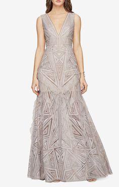 Aislinn Lace Print Gown BCBG