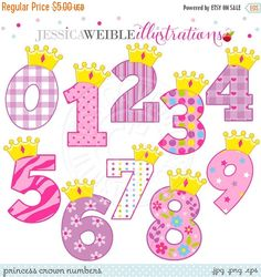 ON SALE Princess Crown Numbers Cute Digital Clipart - Commercial Use OK - Princess Number - Princess Birthday Clipart