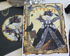 Vintage Handmade Marie Antoinette Halloween Invitation Card by Paper Nosh  www.papernosh.com