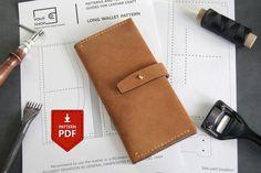 PDF Leather Zipped Wallet Pattern - Half Zip Wallet - Leather Zippier Wallet Pdf - Leather Purse Pattern leather pattern and template pdf Origami Wallet, Sew Wallet, Card Wallet, Simple Wallet, Long Wallet, Leather Diy Crafts, Leather Crafting, Leather Projects, Diy Leather Wallet Pattern