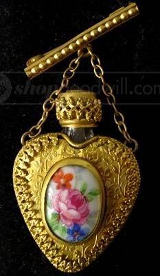 Limoges Perfume Bottle Brooch