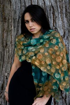 Nuno felted circle scarf hand dyed by Parvana teal and by parvana, $145.00