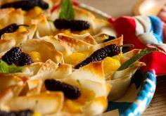 Wonton Dessert Fruit Cups Recipe  with mulberries
