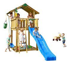 JUNGLE GYM Spielturm CHALET Kletterturm mit Rutsche Holz Spielhaus Leiter Holz