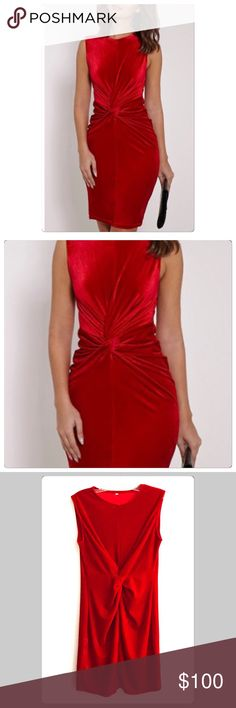 NWT Devine Christmas Red Velvet Twist Knot Dress Velvet is a hot Style this fall and winter! This dress is a show stopper for sure! You will turn every head in the room when you enter! It is a soft gorgeous red! Perfect for any holiday party!  Just simply beautiful! I believe this dress runs a bit small but please go by my measurements please! Boutique Dresses Midi