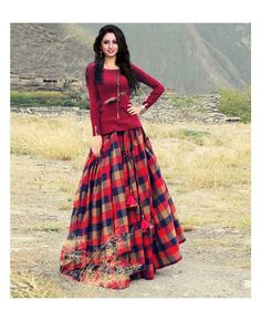 Lehenga- (Semi Stitched) Velvet With Digital Print Work,inner- Santoon,Blouse Unstitched- ( Silk With Digital Print ), Dupatta- (Net) (Accessories shown in the image are for photography purpose). Tartan Fashion, Boho Fashion, Girl Fashion, Fashion Design, Saree Dress, Dress Skirt, Maxi Outfits, Fashion Outfits, Indian Outfits
