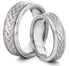 His & Her Silver Braid, Tungsten Carbide <3