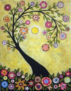 Art Floral, Art Fantaisiste, Art Carte, Ouvrages D'art, Tree Illustration, Naive Art, Whimsical Art, Tree Art, Owl Tree