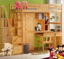 Webetop Cama Doble de Madera Maciza Natural de Los Niños Muebles de Dormitorio Cama Litera con Almacenamiento De Gran tamaño y de Escritorio(China (Mainland))