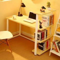 Modern Office PC Table Computer Study Desk Workstation with Bookcase Shelves UK Home Desk, Home Office Desks, Home Office Furniture, Pc Table, Work Station Desk, Bookcase Shelves, House In The Woods, Decoration, Desk Chair